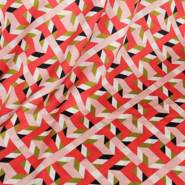 Seidensatin Orange-Grün-Rosa-Schwarz, grafisch