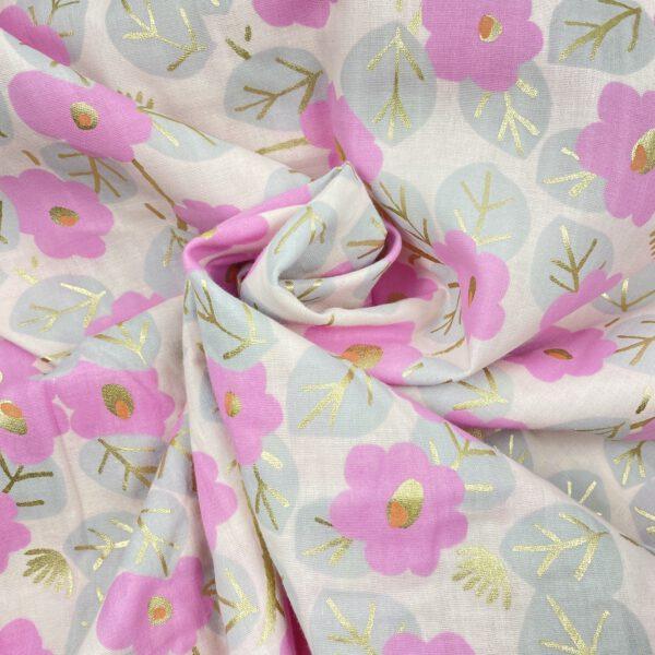 Musseline rosa Blumen hot foil