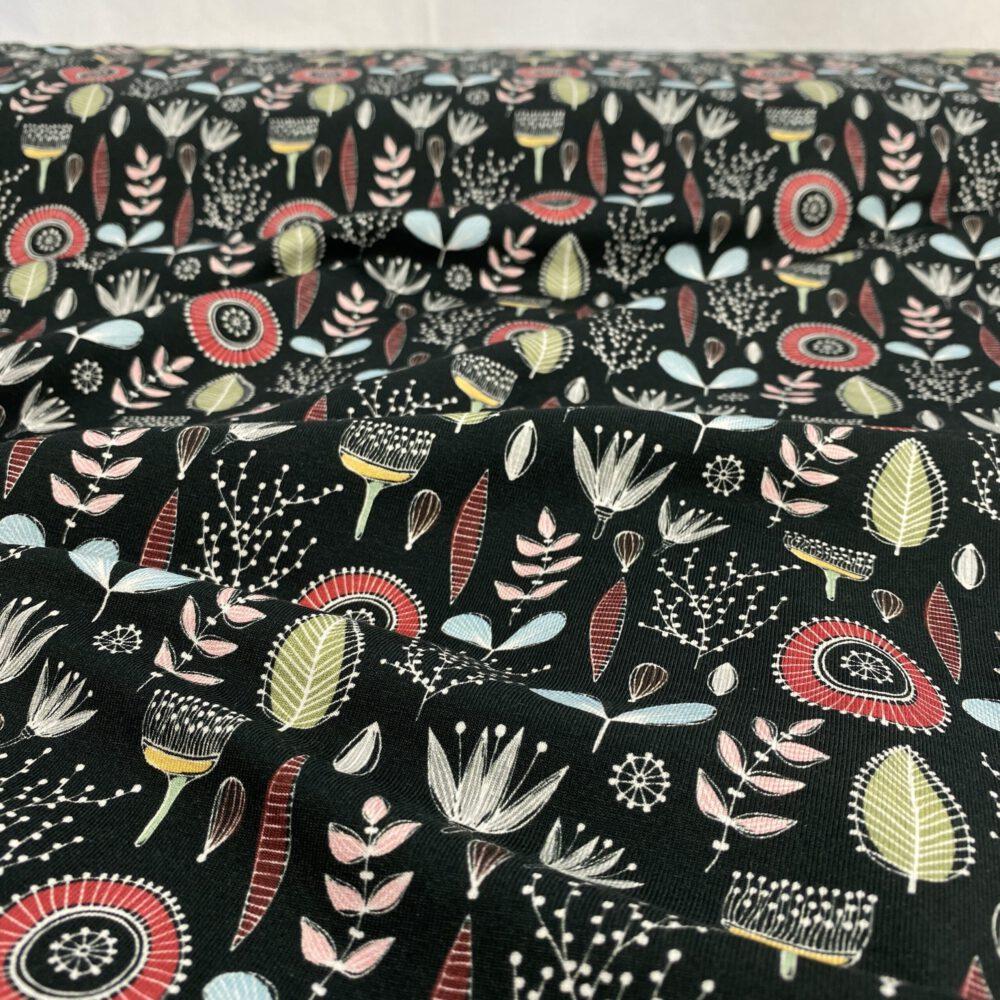Baumwolljersey Blumenwiese schwarz