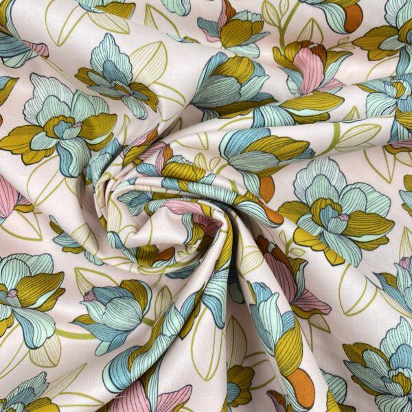 Baumwollstretch Blumen mint-puder