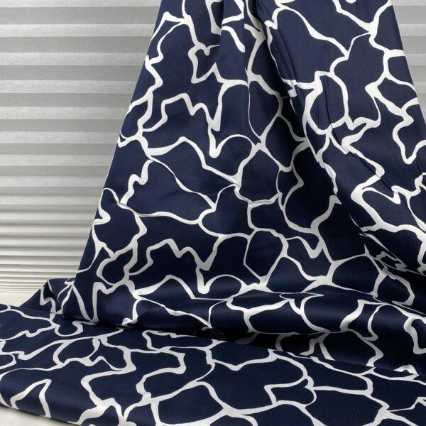 Baumwollstretch blau weiss