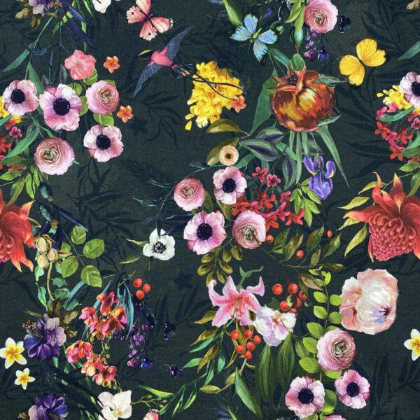 Baumwolljersey Digitaldruck Anthrazit Flower