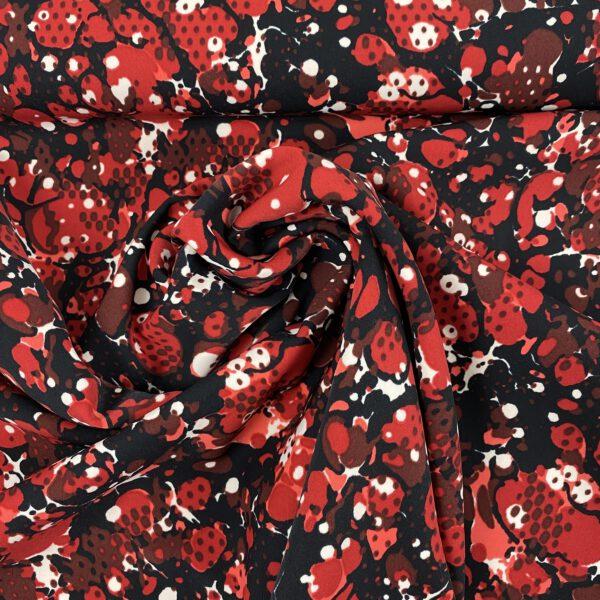 Webstoff Bubble rot- schwarz